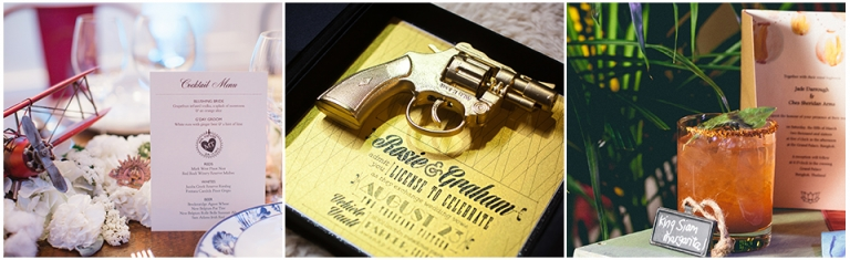 007 invitation, gun invitation, bi-plane decor, thailand inspired event