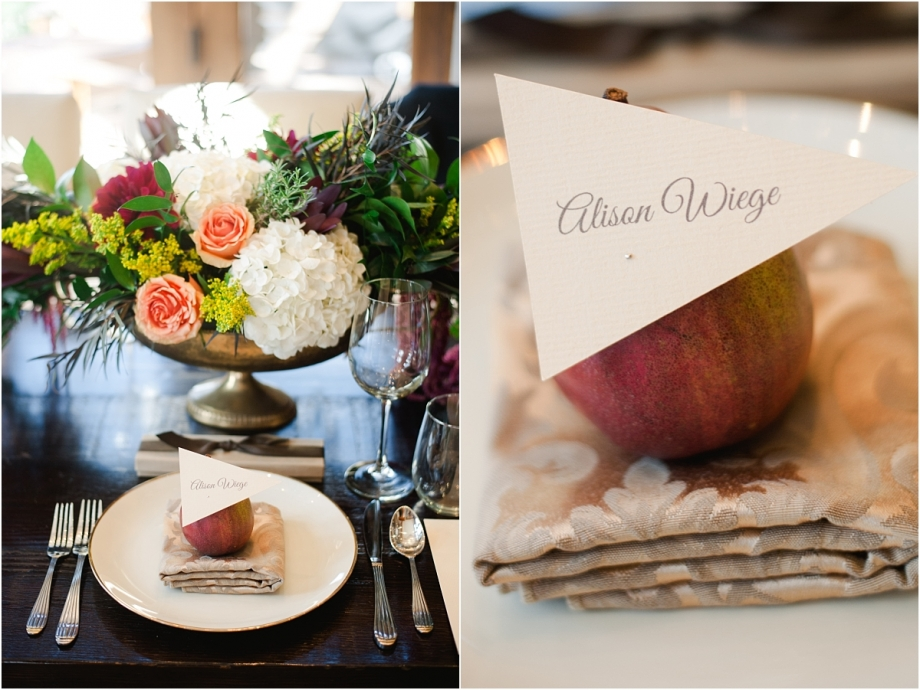 event decor, floral centerpiece, apple with place card, 60th birthday party, social event, event planning colorado, stylish birthday party