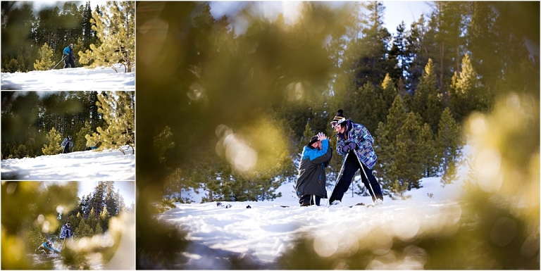 ski proposal, breckenridge, down on one knee, proposal photography, mountain engagement photographer