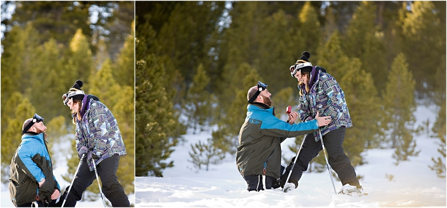 skiing proposal, winter, mountain photographer, she said yes, put a ring on it, breckenridge photographer