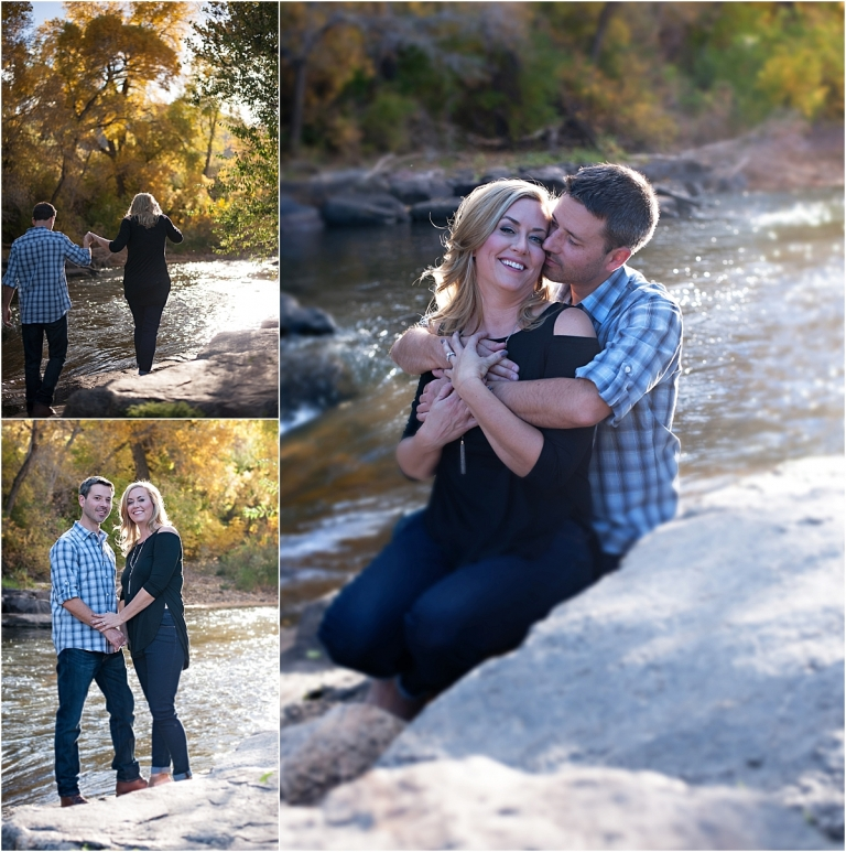 couple sitting on rocks by creek,clear creek history park, golden colorado engagement session, autumn, l elizabeth events, colorado engagement photography, mountain engagement photographer