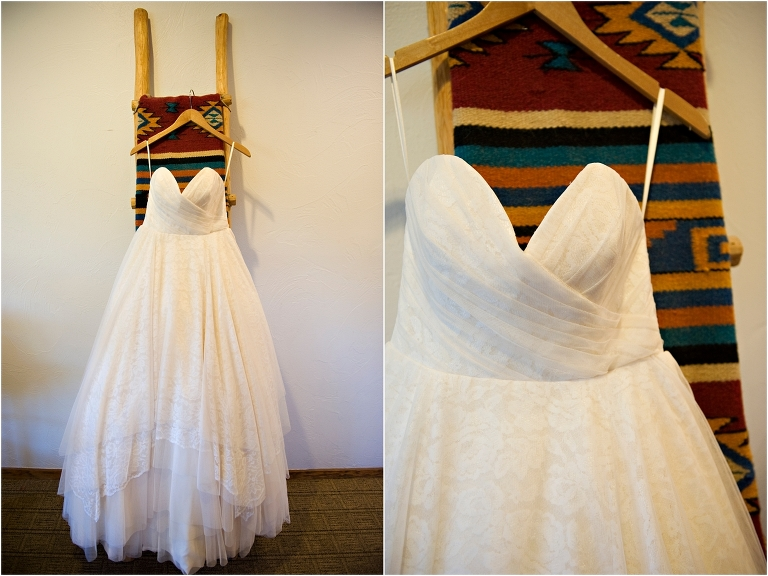 table mountain inn, bridal gown hanging from blanket ladder,wedding day, clear creek history park, golden, colorado wedding planner, mountain wedding photographer,