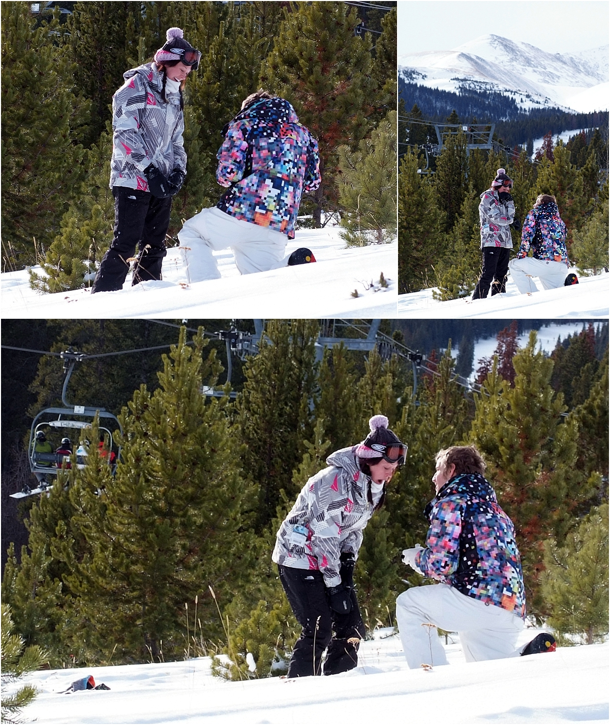 she said yes, down on one knee, will you marry me, winter snowboarding proposal, beaver run resort, surprise proposal, colorado photographer, proposal photography, mountain wedding photographer, summit county, colorado snowboarding proposal