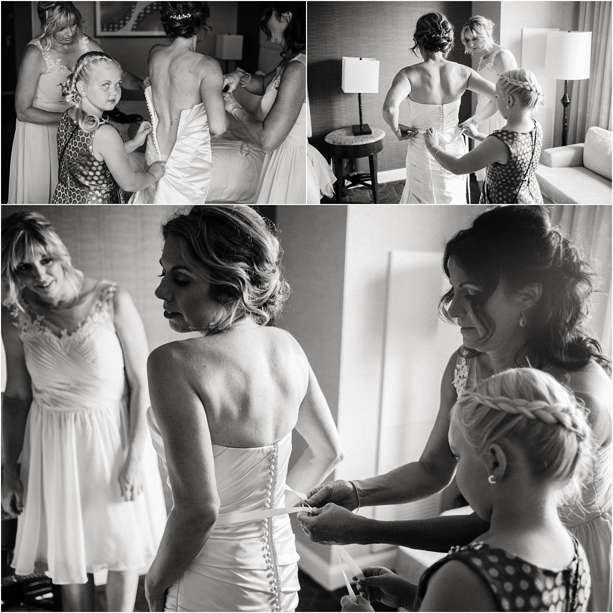 black and white photography, getting ready photos, bride putting on wedding dress, bridesmaids, mother of the bride, flower girl, colorado wedding planner, l elizabeth events, denver city wedding, summer wedding