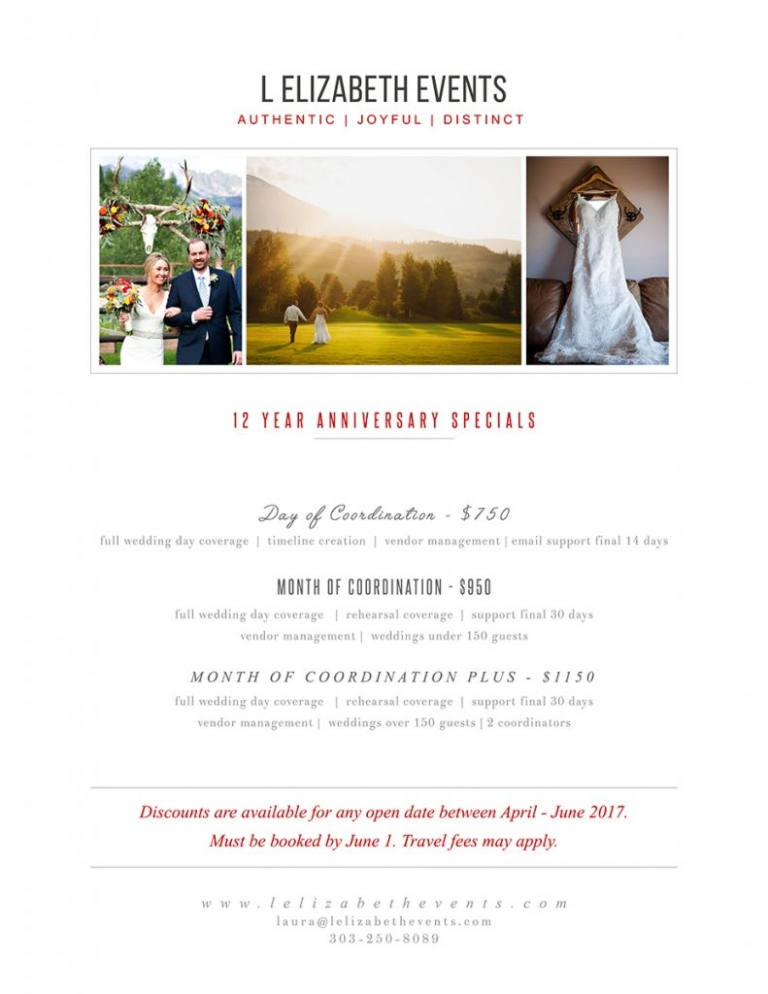 wedding, coordination, specials, colorado, denver