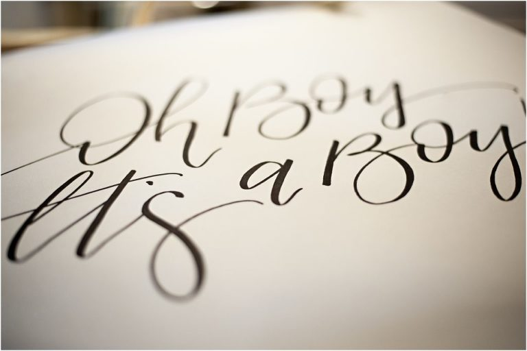 calligraphy, oh, it's a boy, baby shower